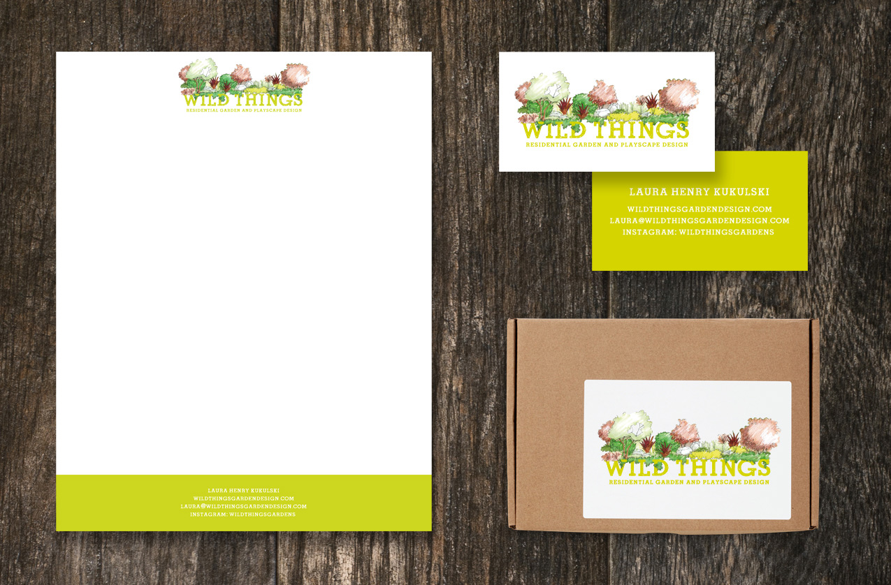 Wild Things Letterhead, business cards, and mailing label.