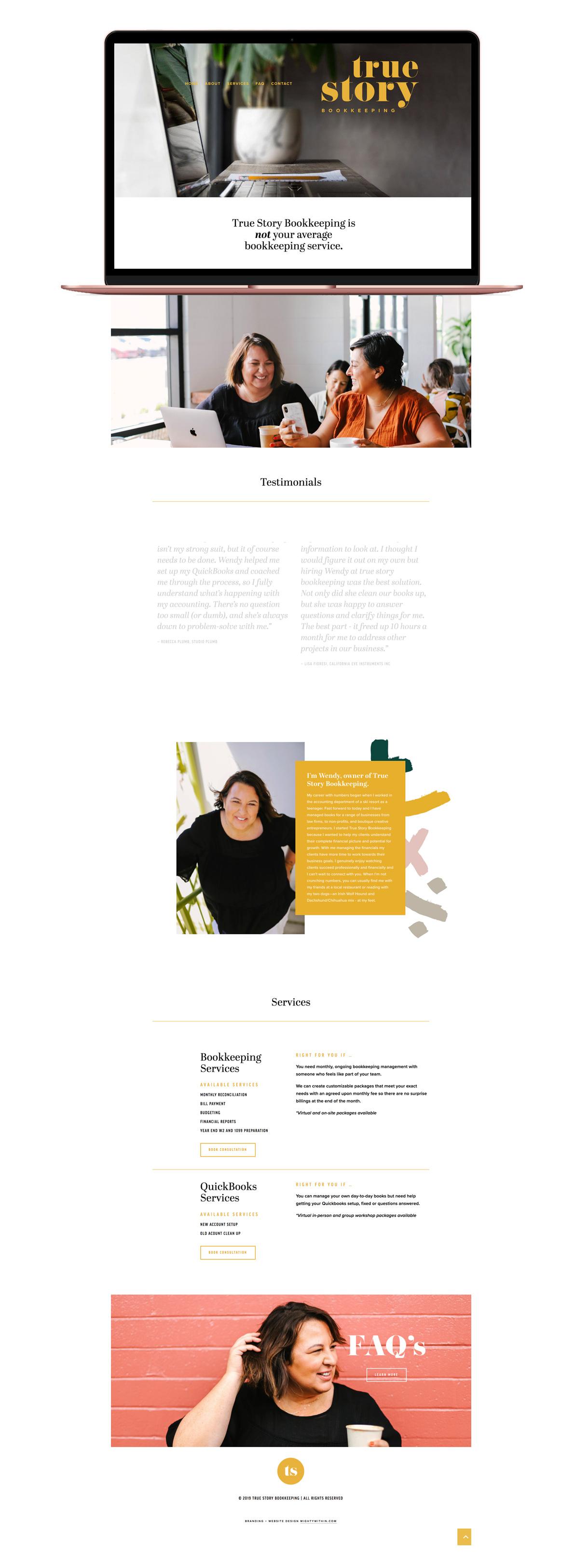 True Story Bookkeeping Squarespace Website Design