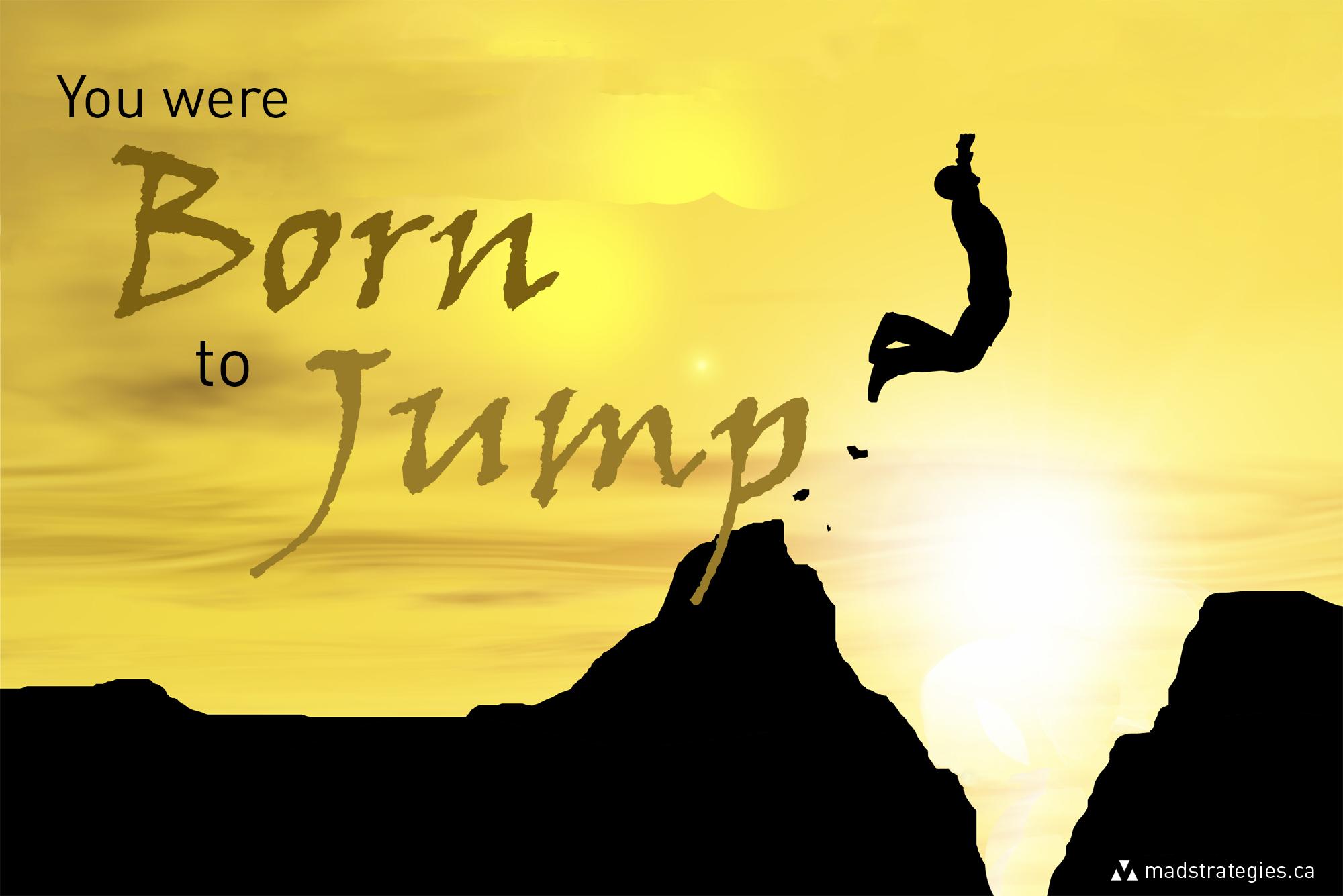 Human man silhouette jumping at sunset banner