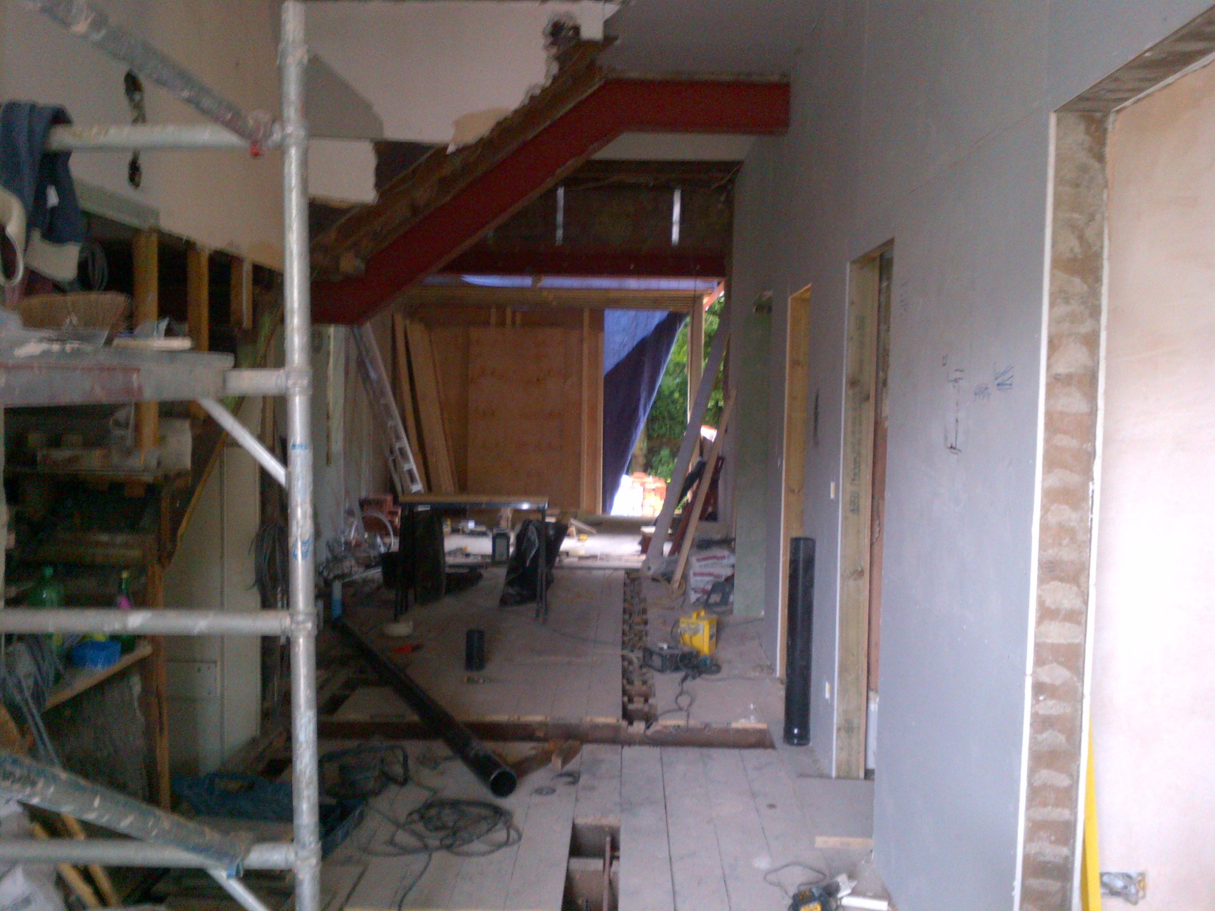 Frognal - Step 5 -internal wall removed with z shaped steel in place to suport above staircase.jpg