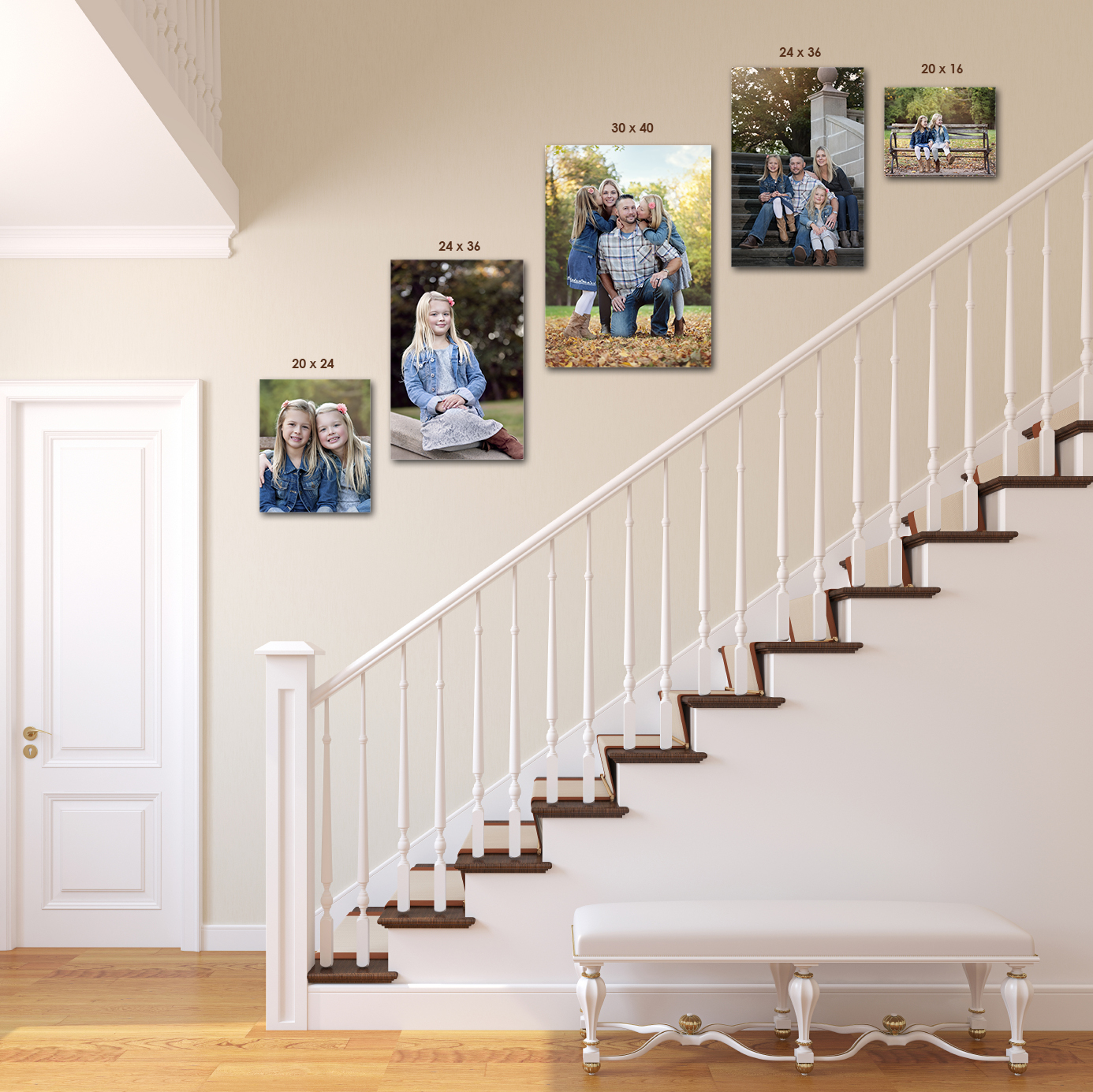 STAIR CLIMBER   (1) 20x24, (2) 24x36, (1) 30x40, (1) 20x16 Canvas Wrap .... $2,150    OR (1) 20x24, (3) 24x36, (30x40 not available in a ThinWrap), (1) 20x16 ThinWrap .... $1,350