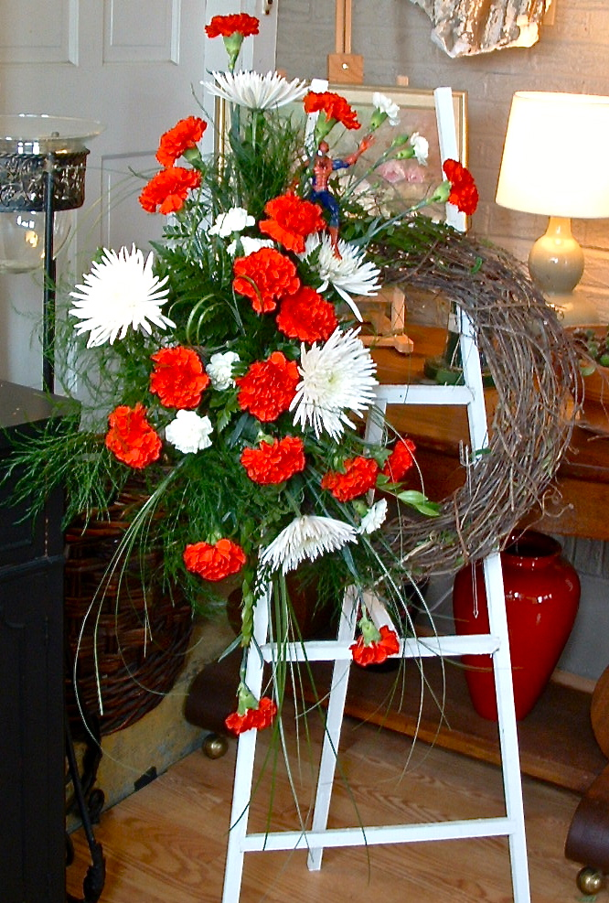 Easel with Wreath Arrangement