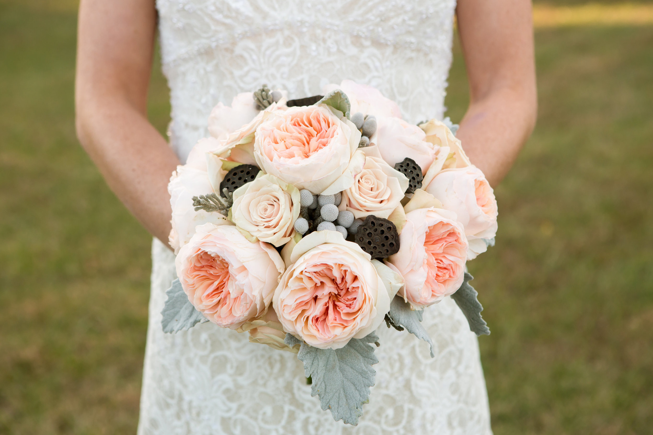 Garden roses, Sahara roses, dusty miller and lotus pods were carried by our bride at Cedar Lake Cellars.
