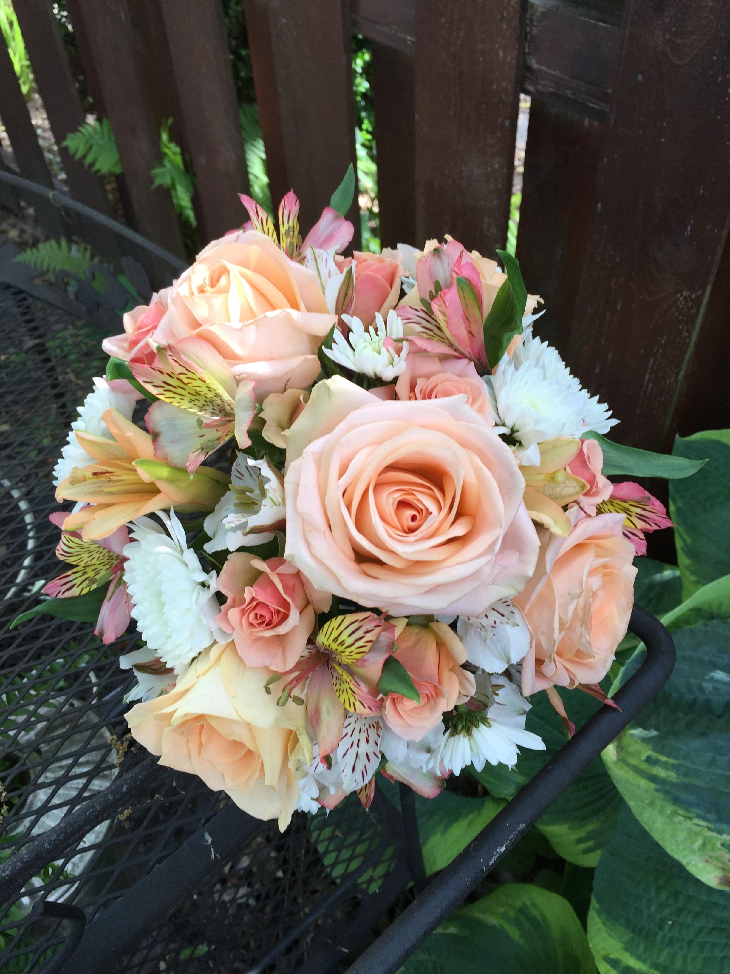 Roses, alstromeria, and chrysanthemums