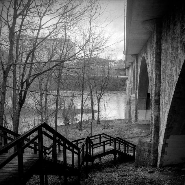 Scioto River, Dublin, OH, Ilford FP4+