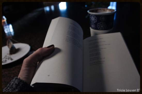 Here I am reading William Stafford's poetry collection with a delicious chai tea latte (with lots of cinnamon). Crack of dawn, perched from my kitchen's barstool. Taking notes, plotting moves, looking through rough cuts and stills....and writing words. Overall, a great way to start a day.....