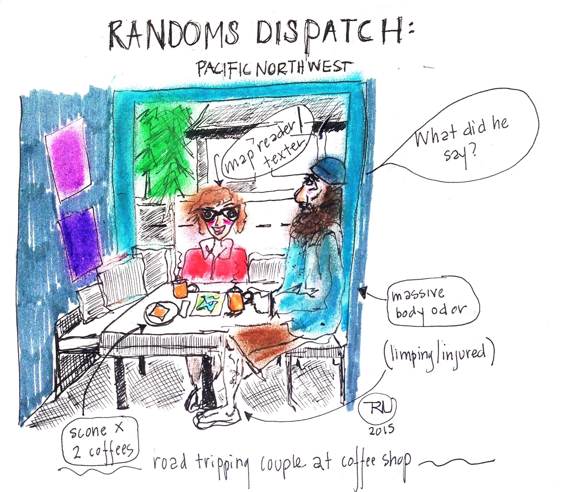 """Randoms Dispatch"" series. Coffee shop scene in PNW."