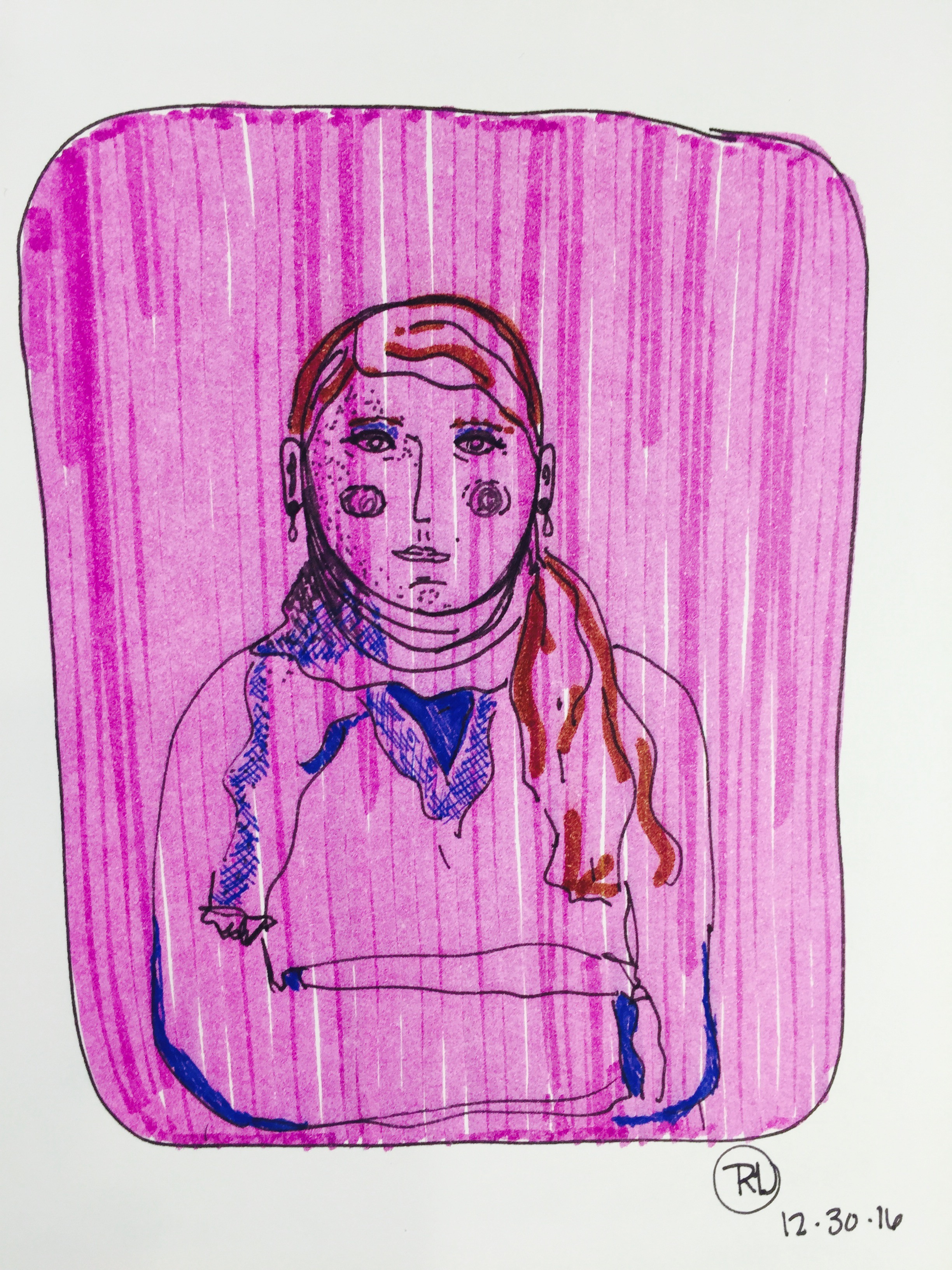 flight attendant - using my daughter's Crayola markers + Stabilo pt 88 pen