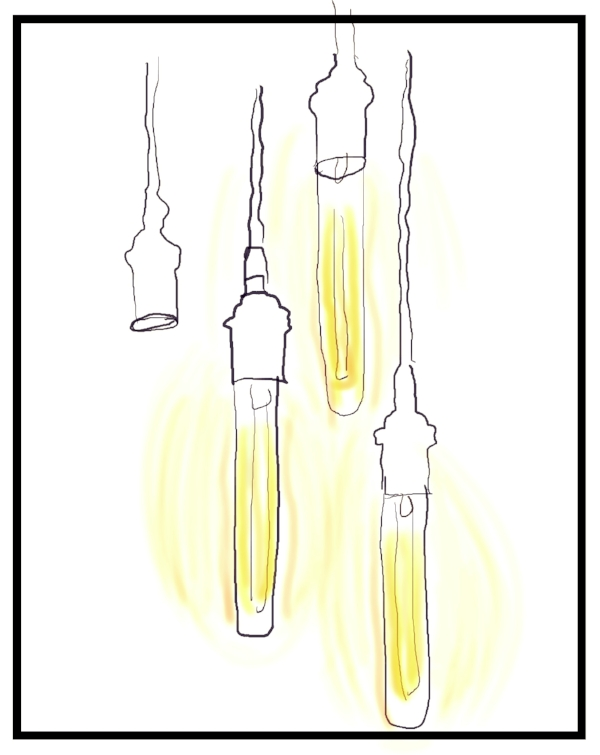 Quick sketch of cool lights I found in Victoria, BC. It could have been Portland, too. Anywhere pretty cool.