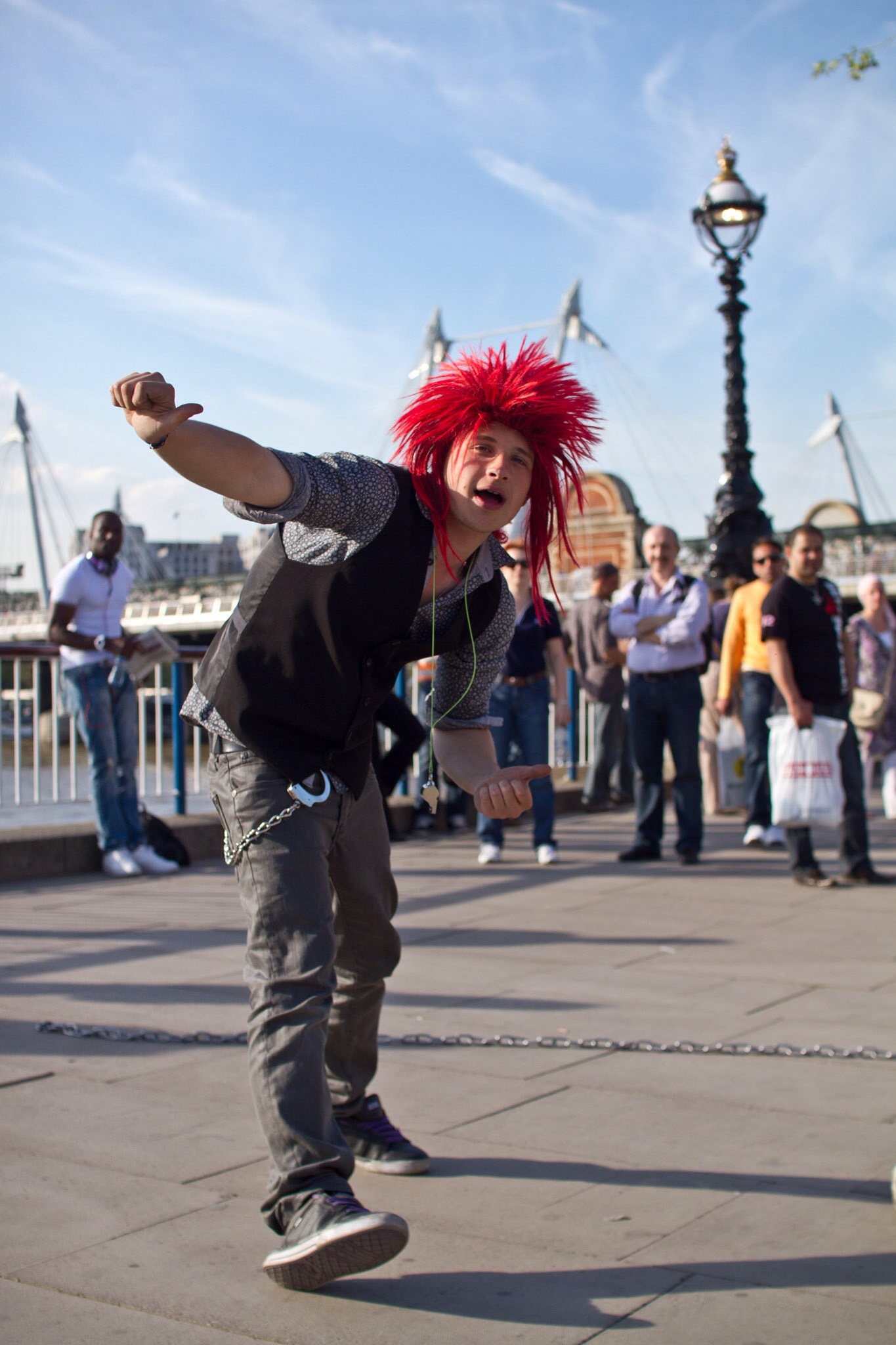 A street performer on the South Bank of the Thames in London, during my day of street photography with my friend Sharon