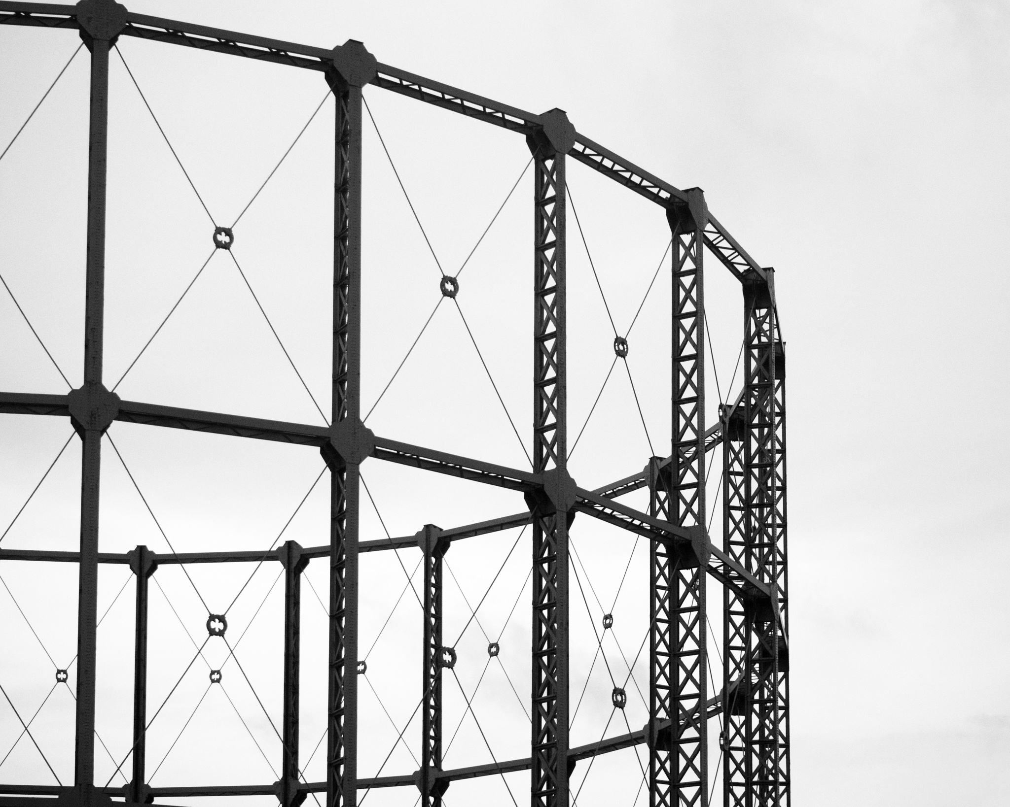 The stark frame of a gas holder on the eastern outskirts of London