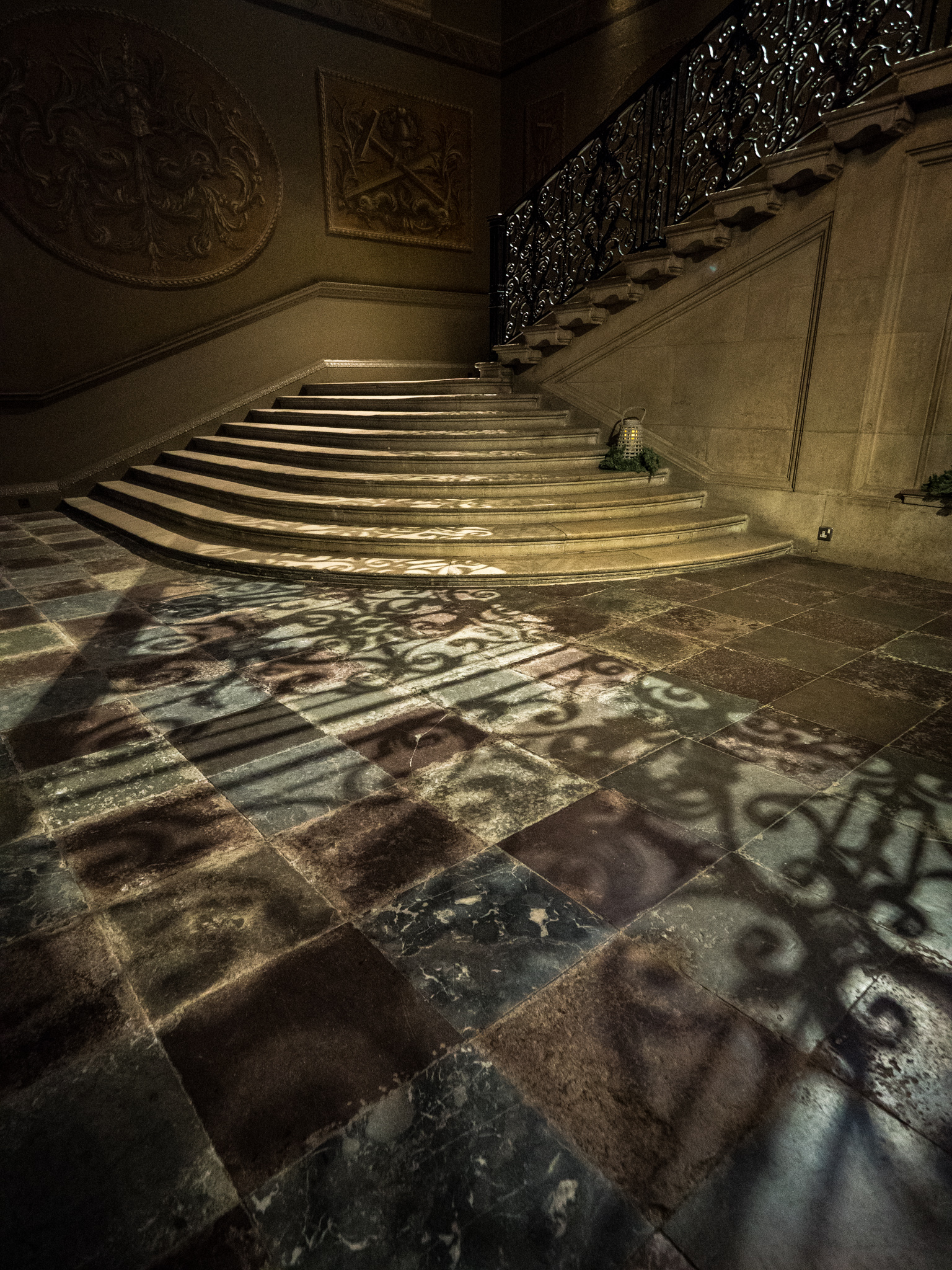 I couldn't resist the wonderful shadows cast on the floor by the railings on this amazing staircase