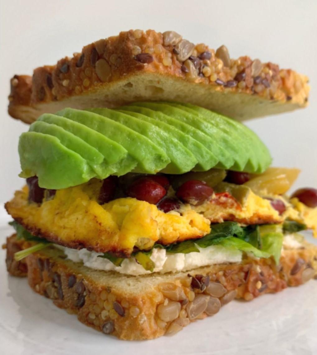 3-Bean Omelet Sandwich