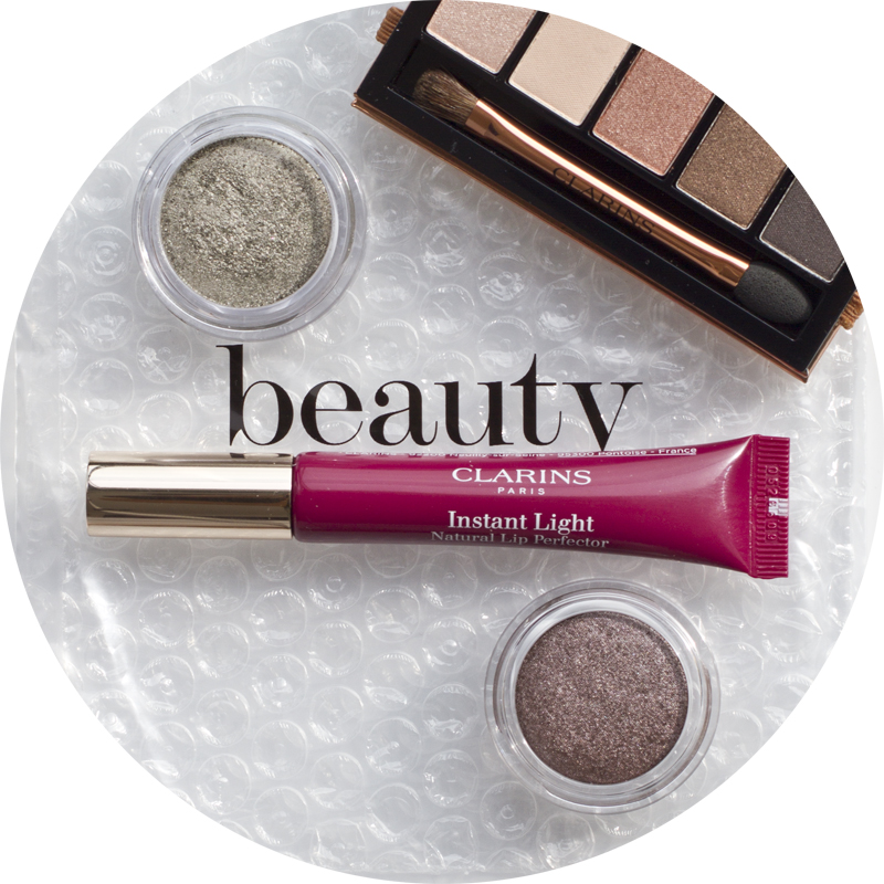 Clarins 5 coleurs eyesadow palette - ombre iridescent in silver green and silver plum and Instant Ligh Natural LipPerfector in Plum Shimmer