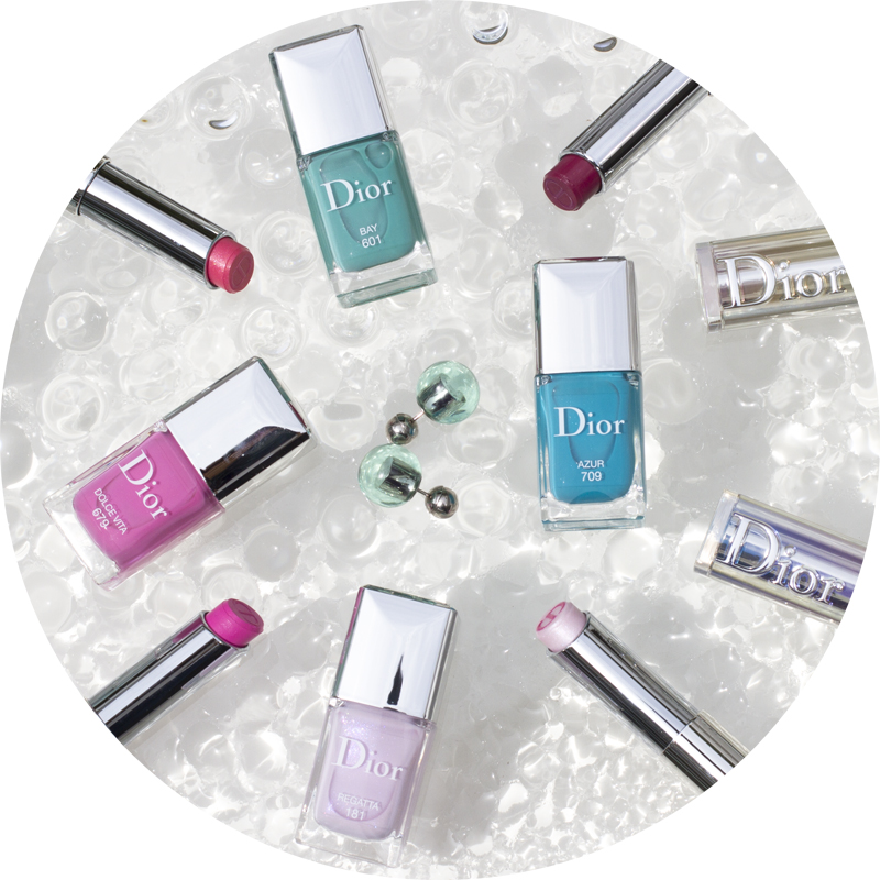 DIOR makeup cruise collection 2016 nail polishes in azur, bay, dolce vita and regatta and lipsticks dior addict in escapade, dream, wave and sunny