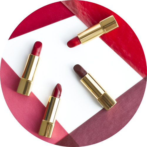 From top clockwise: Rouge Allure Velvet in Rouge Feu;Rouge Allure Velvet in Rouge Audace;Rouge Allure in Rouge Tentation;Rouge Allure Velvet in Rouge Charnel,Chanel Le Rouge - Collection Nº1