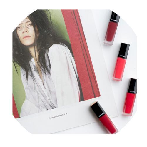 Chanel Rouge Allure Ink - top clockwise Expérimenté, Vivant, Libéré and Luxuriant.