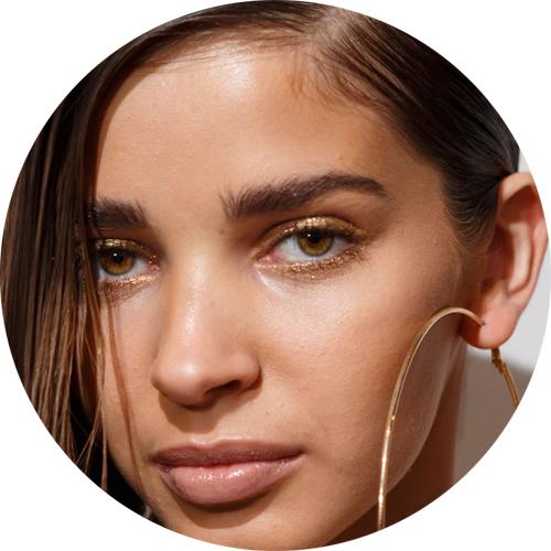 Nicholas K  -gold glitters to enhance the eyes;  glitter dorati a incorniciare l'occhio