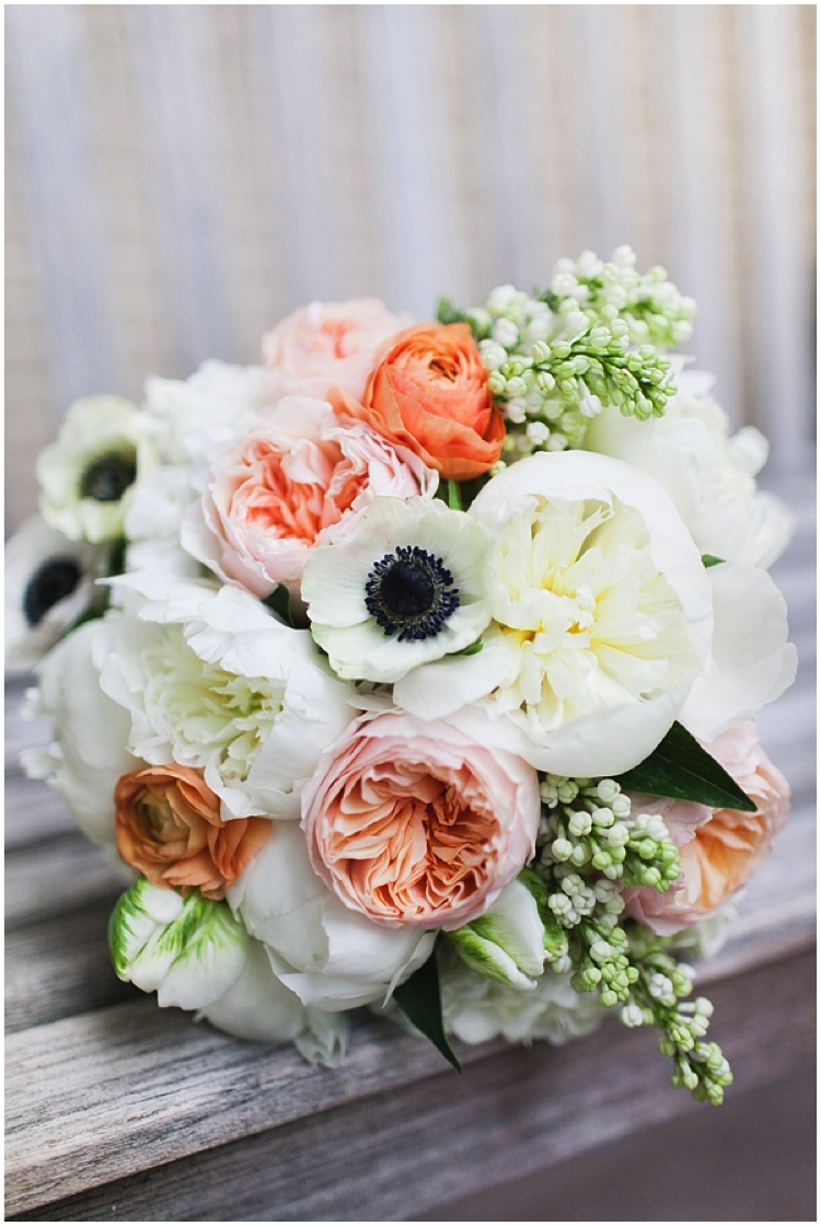 Peach, white, green and navy make for a fresh color grouping that is perfect for a springtime wedding { Via }