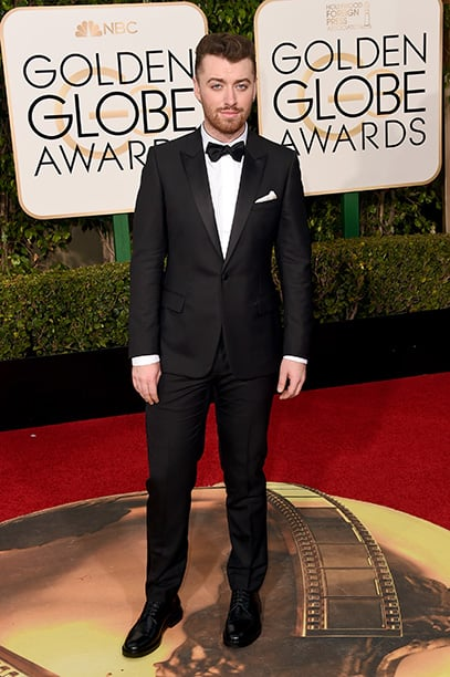 No one can love you like Sam Smith can. Looking sharp in his sleek traditional style tuxedo at the 2016 Golden Globes.