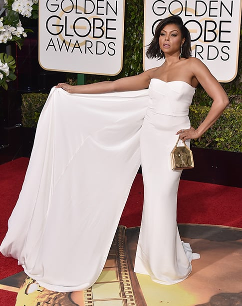Do not mess with the queen of rap Cookie Lyon! You probably know Taraji P. Henson as Cookie in the hit show, Empire. Well here she surprises us again with another amazing outfit to show off how fierce she is! This gorgeous Stella McCartney white gown definitely puts Taraji in the spotlight!