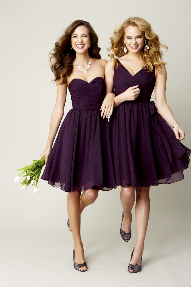 Short bridesmaid dresses are super cute! Do you want your bridesmaids all wearing the same color but do all of your ladies have different body types? Let your bridesmaids choose the cut they feel most comfortable in!