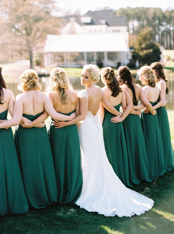 These emerald bridesmaids' dresses are a beautiful color to go with your St. Patrick's holiday wedding inspiration