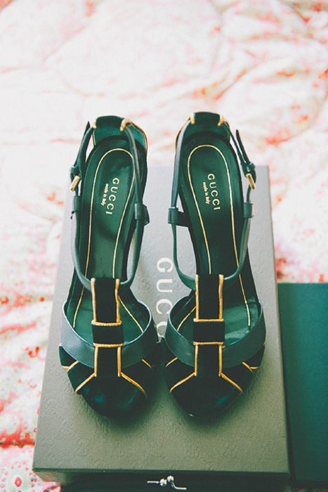 Looking for a peep of emerald when you are walking down the aisle? These Gucci open-toe heels are perfect for a burst of color