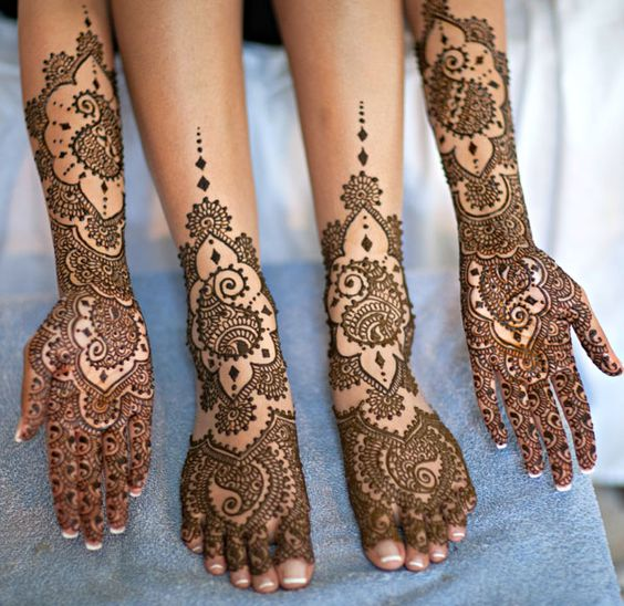 """The tradition before an Indian bride gets married is that she and her female friends decorate their hands and feet with detailed designs called menhdi. These designs are temporary and many brides turn this tradition into a """"menhdi party"""" with her, her family, and friends."""