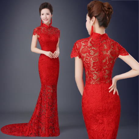 In China each bride picks three dresses. The first is a traditional qipao or cheongsam which is an embroidered, slim-fitting gown that's usually the color red because red is a strong, lucky color in Chinese culture.