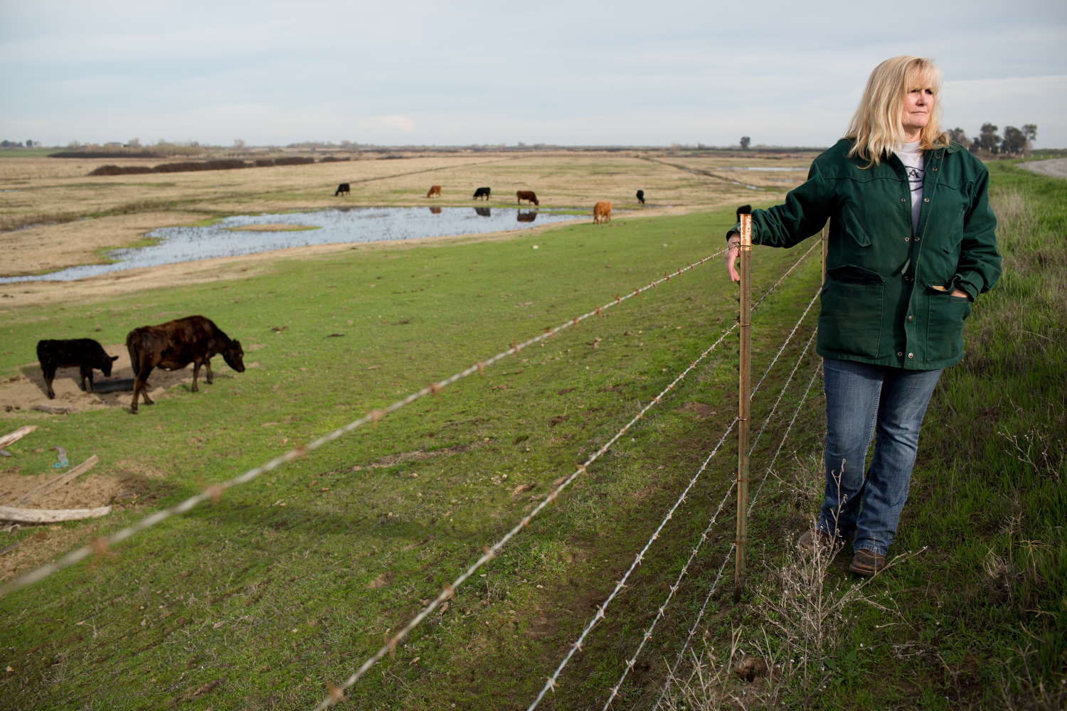 Karen Cunningham, a rancher and land owner on Bradford Island in the Sacramento–San Joaquin River Delta.