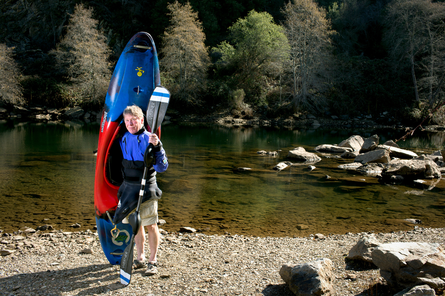 Kayaking guide John Simpkin on the South Fork of the American River.