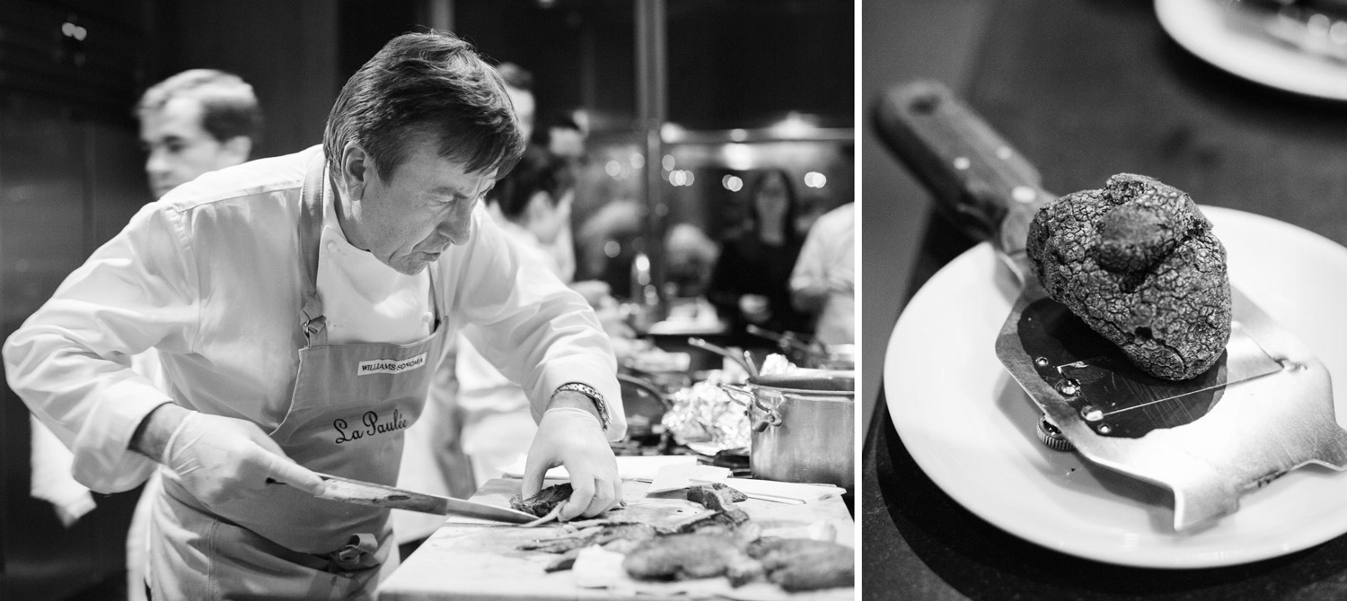 Chef Daniel Boulud slices duck. Black truffle, right.