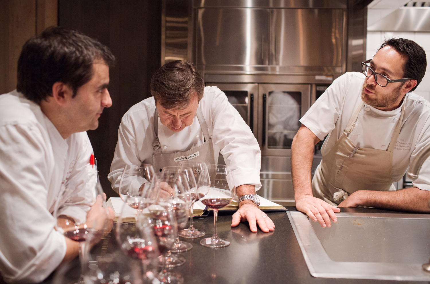 Many Michelin stars and James Beard Foundation awards between them, chefs Jean François Bruel, Daniel Boulud and Christopher Kostow, left to right.