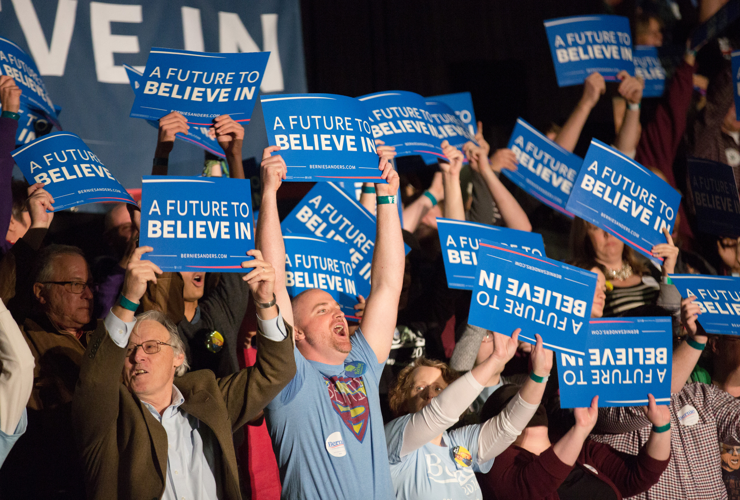 Supporters of Democratic presidential candidate Sen. Bernie Sanders, I-Vt., cheer during a campaign rally at JQH Arena at Missouri State University in Springfield, Mo., Saturday, March 12, 2016.