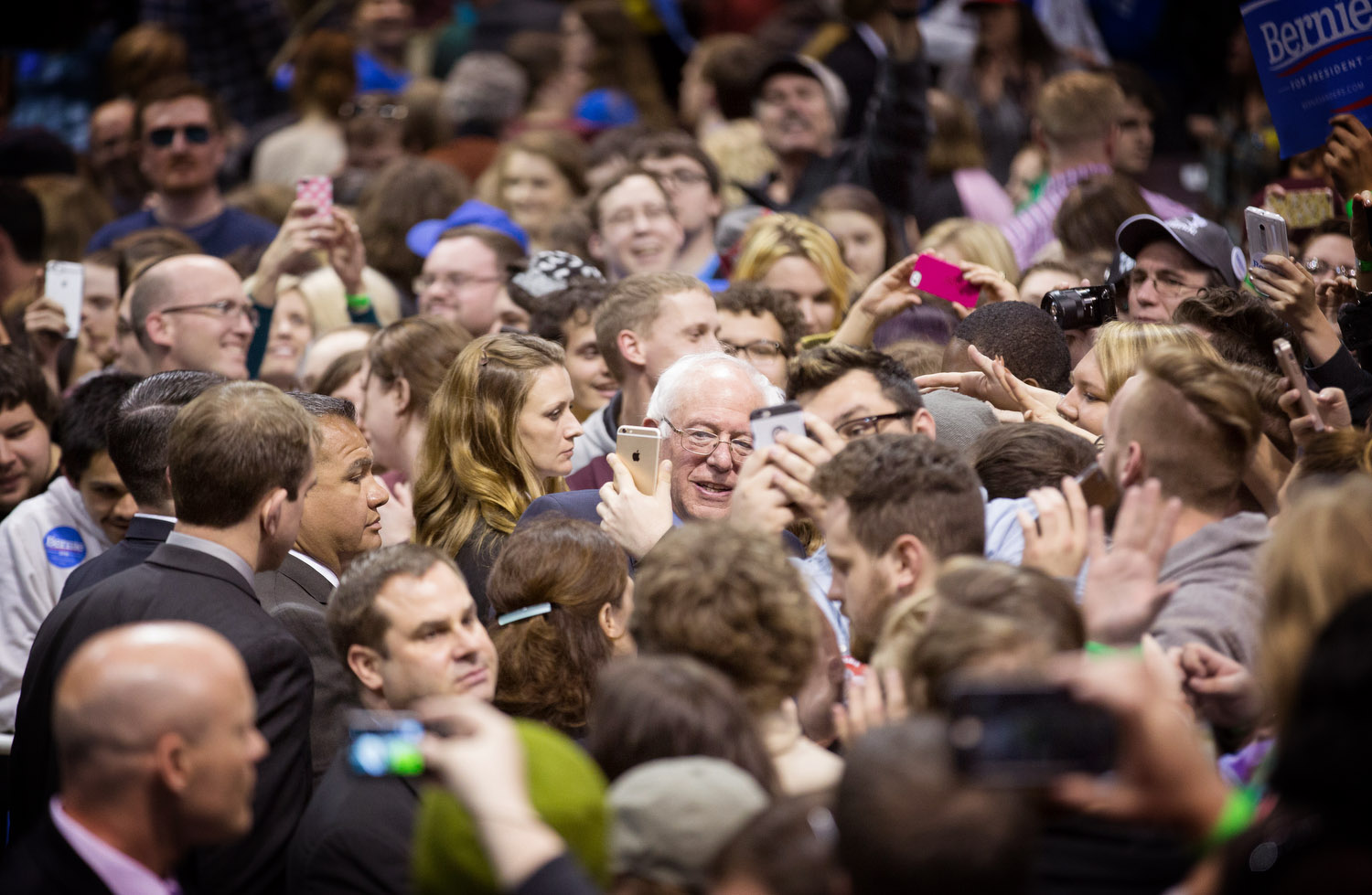 Democratic presidential candidate Sen. Bernie Sanders, I-Vt., greets supporters during a campaign rally at JQH Arena at Missouri State University in Springfield, Mo., Saturday, March 12, 2016.