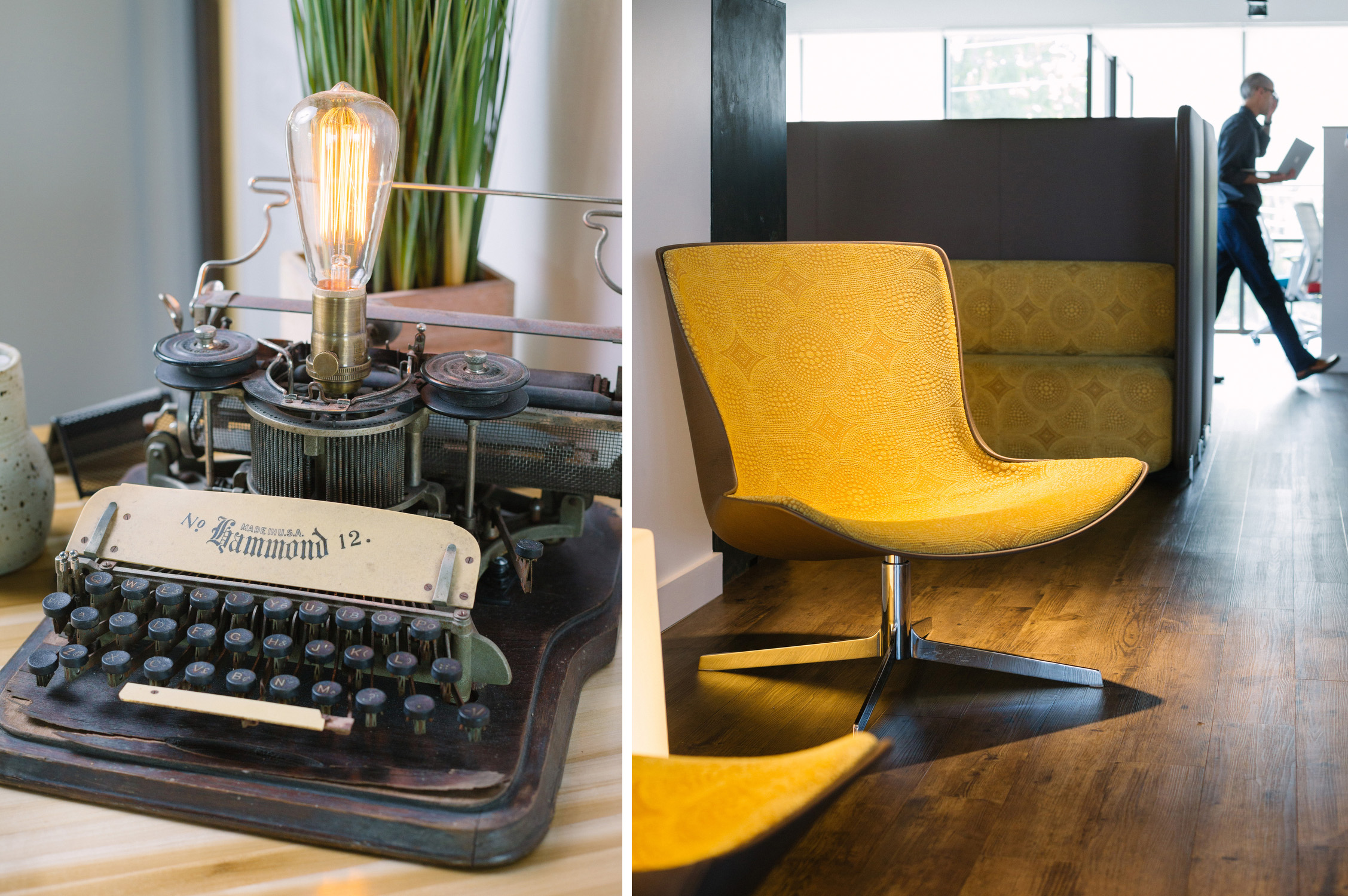 An antique Hammond No. 12 typewriter from Ellecor Design and Gifts is on display at the entrance to CAST Workspace Cooperative in Springfield, Mo. on July 19, 2016. Photos by Brad Zweerink.