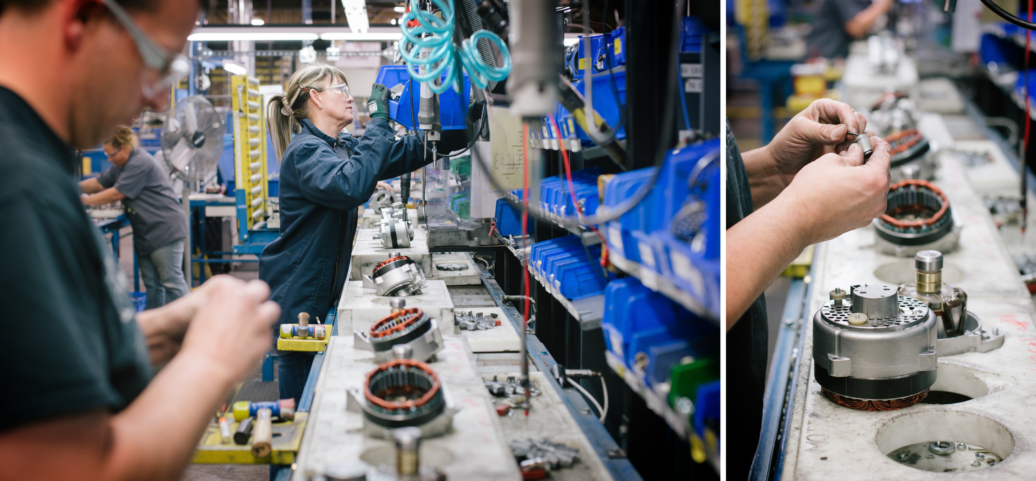Ryan Mitchum, left, and Shirley Stanton assemble alternators at the SRC Electrical facility on Sunshine in Springfield, Mo. on Nov. 22, 2016. Photo by Brad Zweerink.