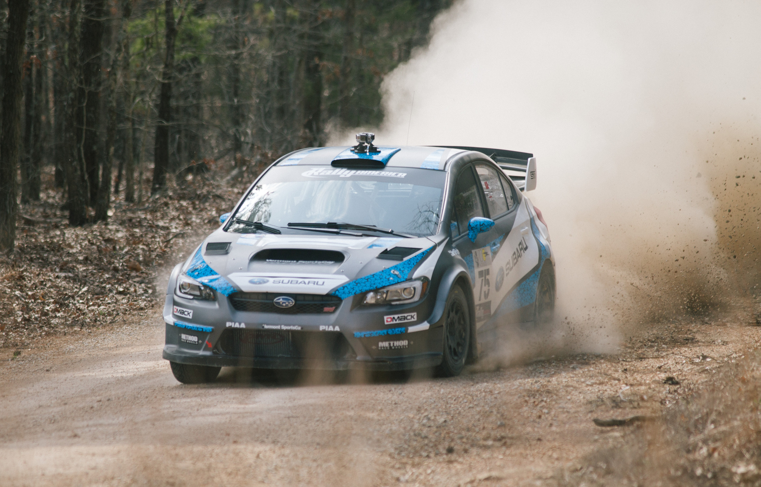 Subaru Rally Team USA driver David Higgins and co-driver Craig Drew on stage three of the race.