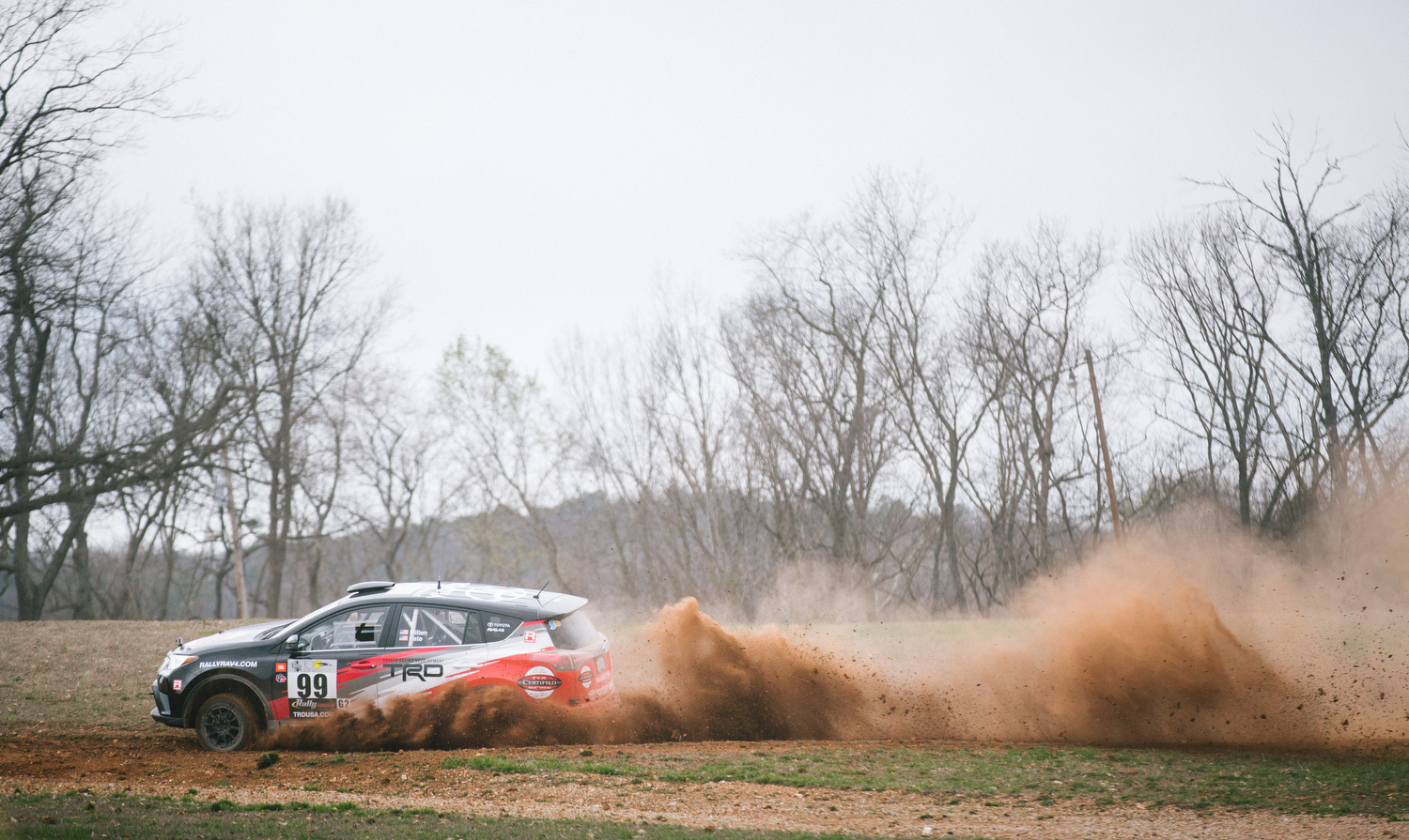 Ryan Millen driving his 2015 Toyota Rav4 on stage four.