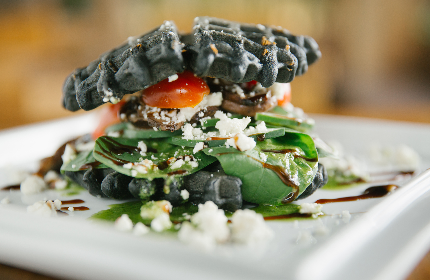The charcoal waffle sandwich at The Press Coffee & Juice Bar in Springfield, Mo, on Aug. 28, 2017. Photo by Brad Zweerink.