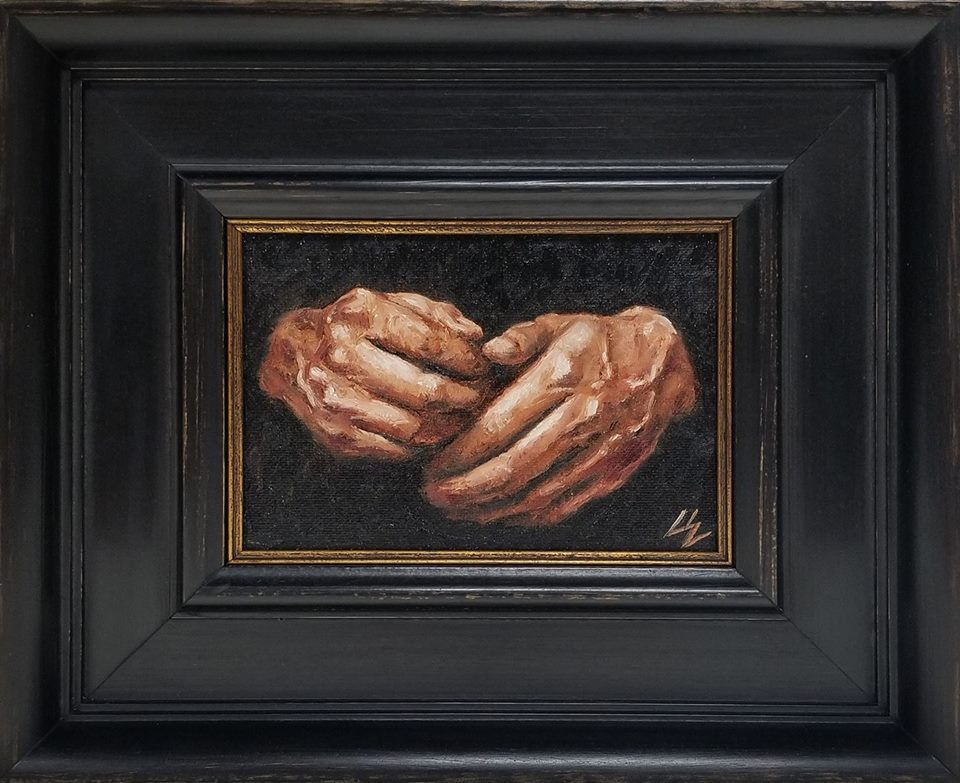 """Own Hands""  5x7 oil on panel Hands of Colin Owens"