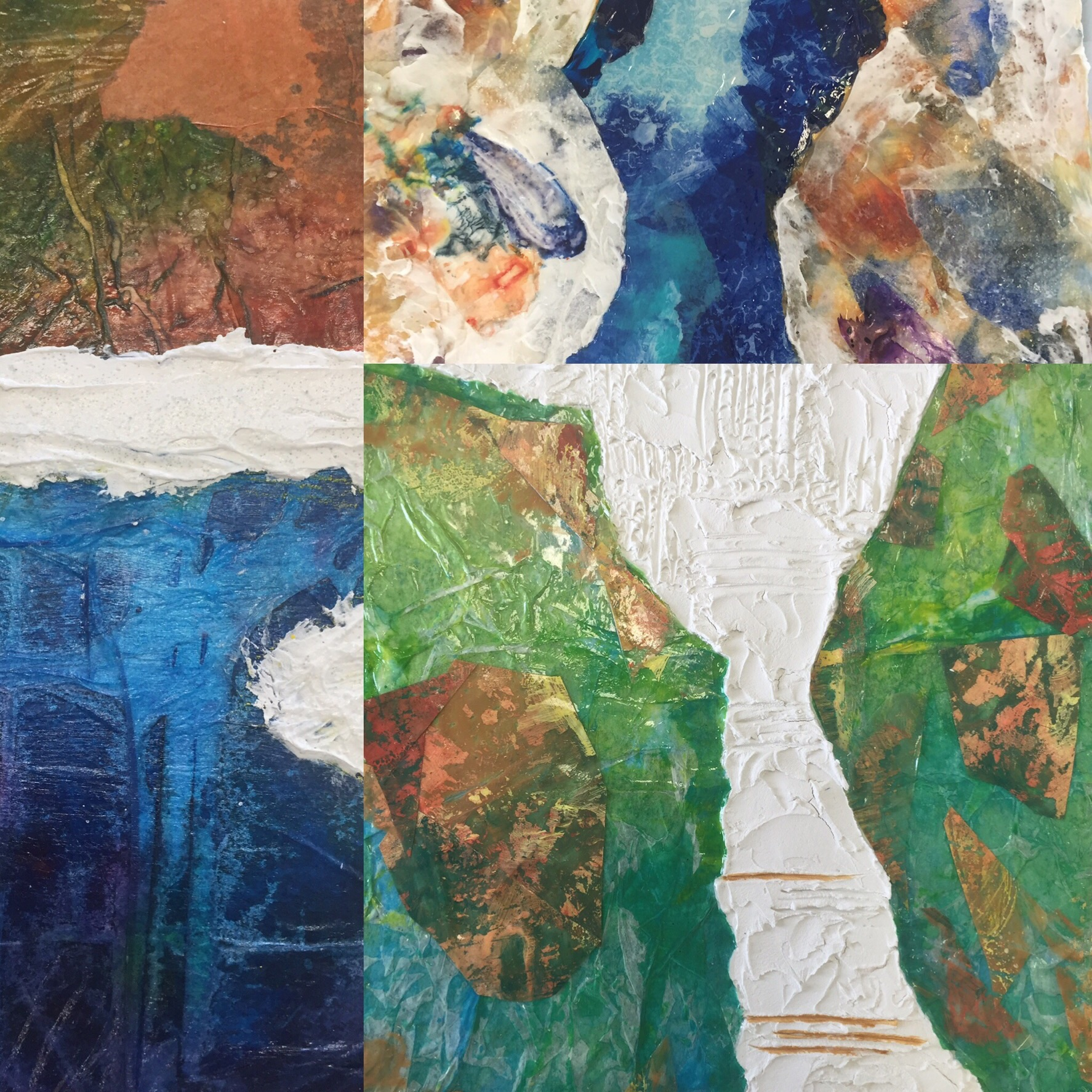 Student works in progress. Made with acrylic pastes, mediums, papers and acrylic skins.