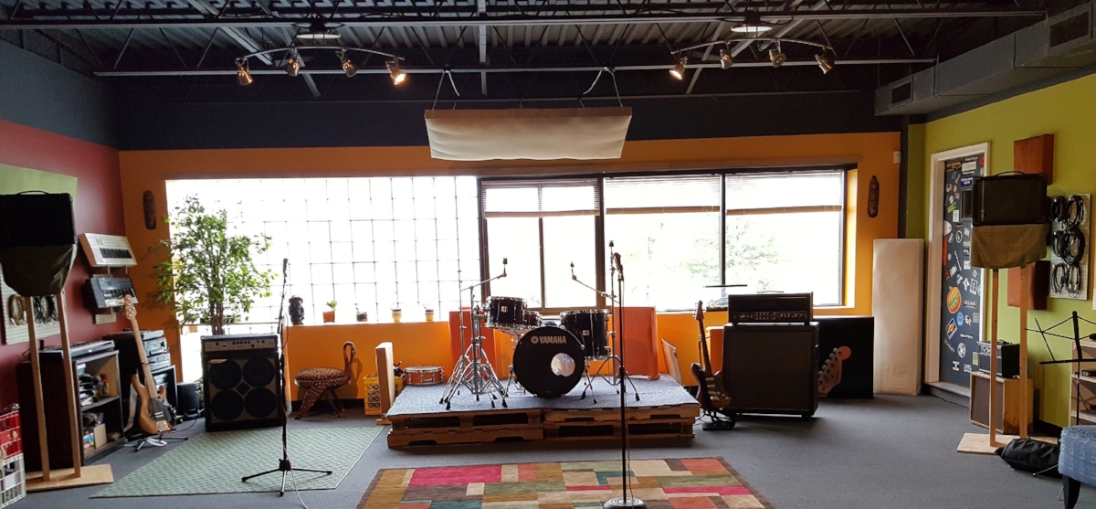 Lobby and Red Room $20/hr - Both rooms include full drum sets, PA with 2 mics, one guitar and bass half stack.