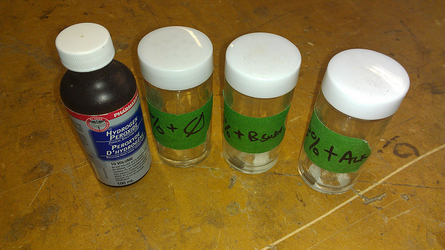 Testing titanium in formulations of hydrogen peroxide to make a bondable oxide layer
