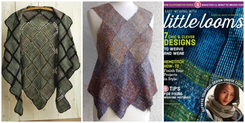 Spanish Moss from Handwoven May/June 2010, Harlequin Vest from Cotton /clouds, and Little Looms magazine from Interweave