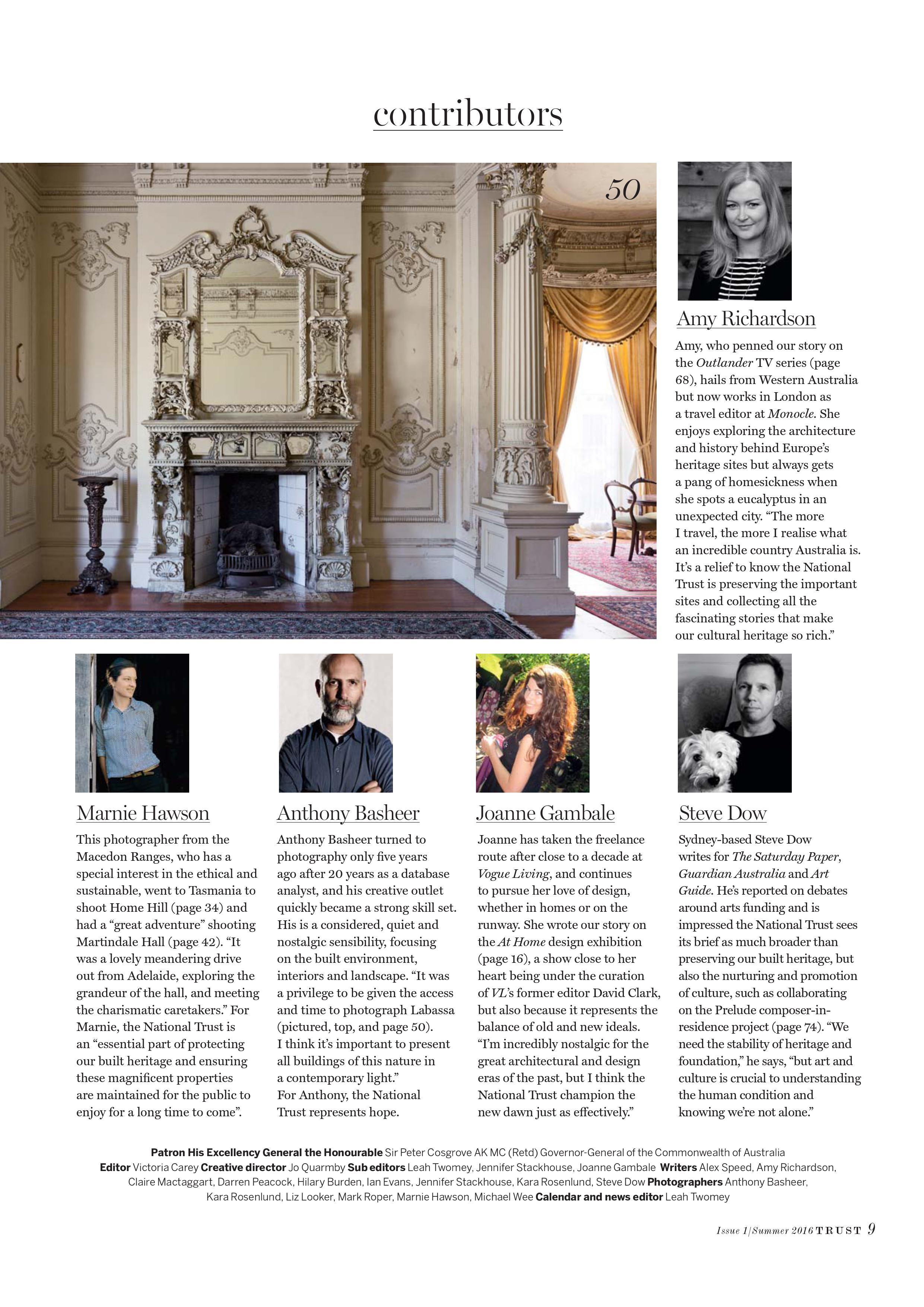 Marnie Hawson for The National Trusts of Australia magazine