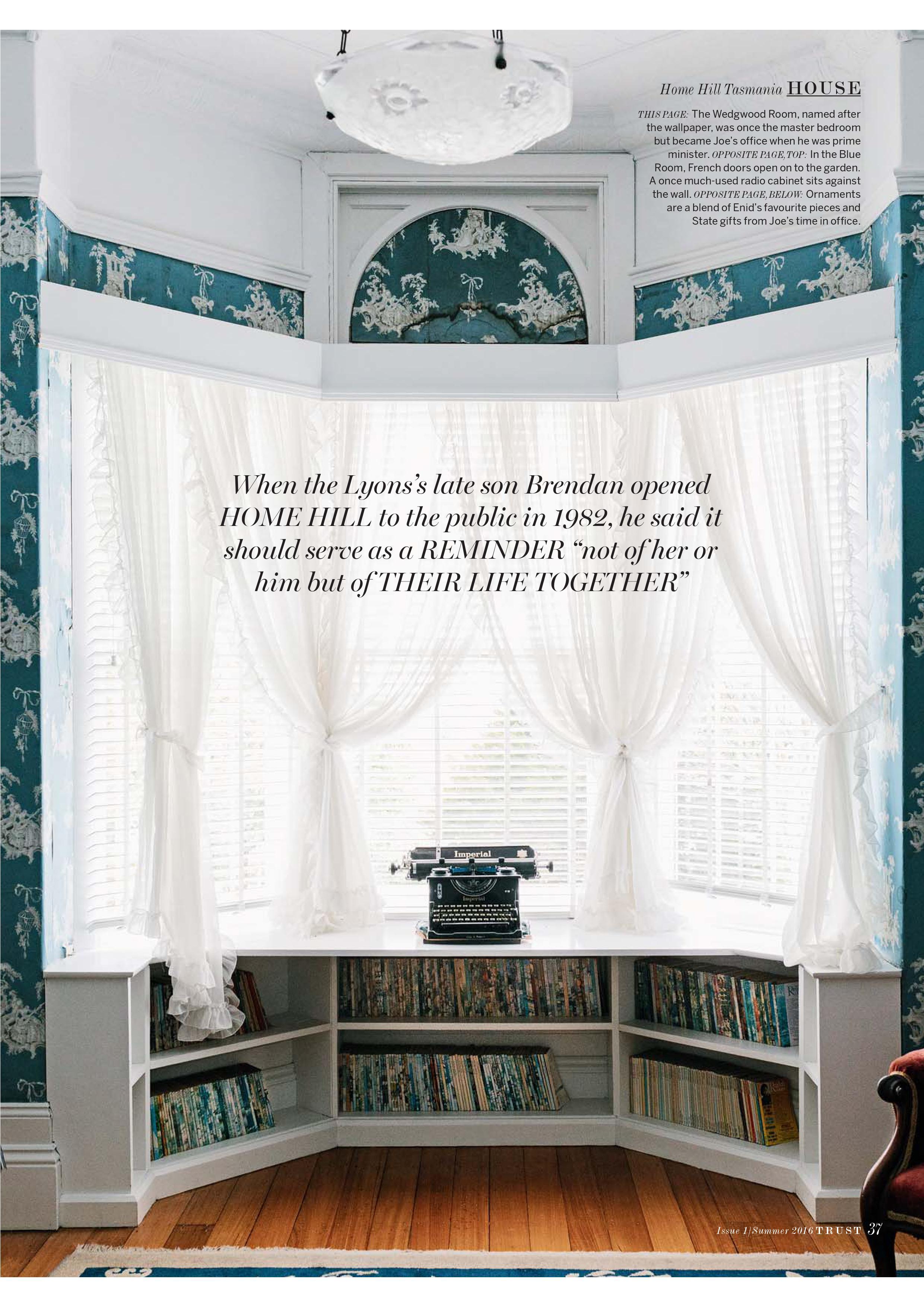 Marnie Hawson for The National Trusts of Australia magazine and Home Hill, Tasmania