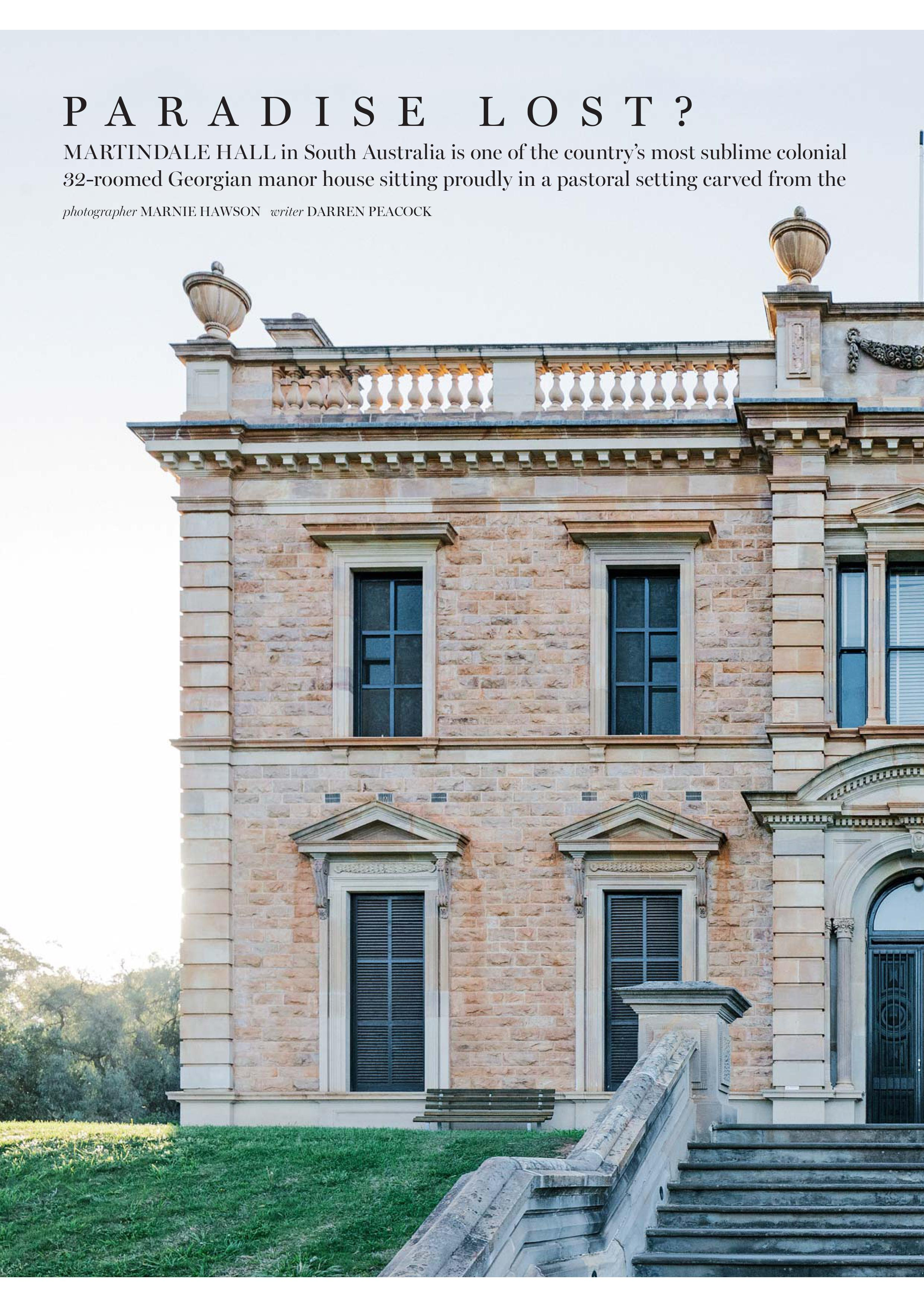 Marnie Hawson for The National Trusts of Australia magazine and Martindale Hall, South Australia