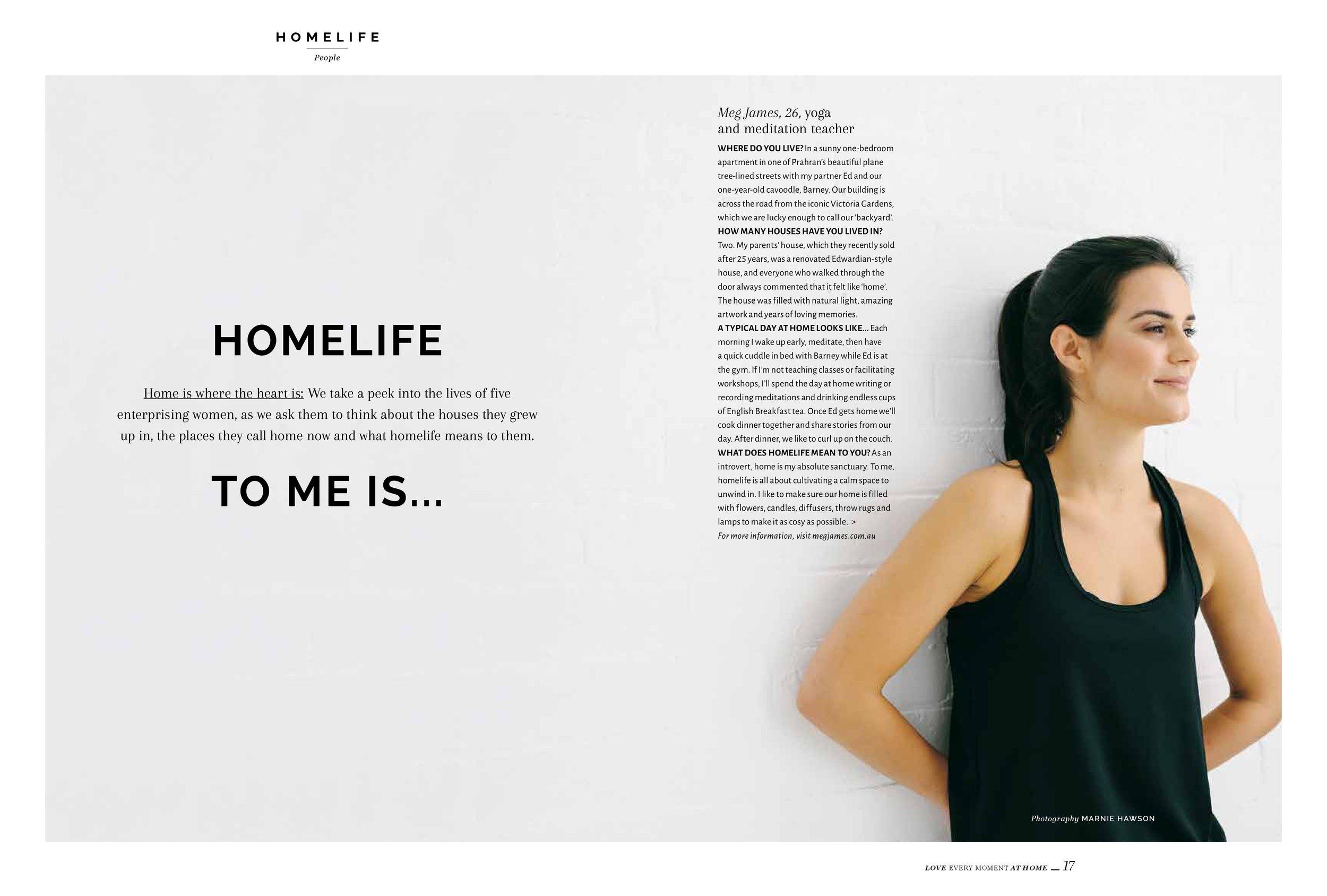 Marnie Hawson, Melbourne lifestyle photographer for Homelife magazine and Meg James